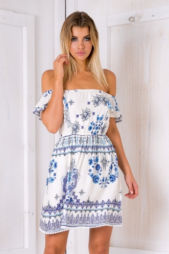 Blue lagoon dress- White print