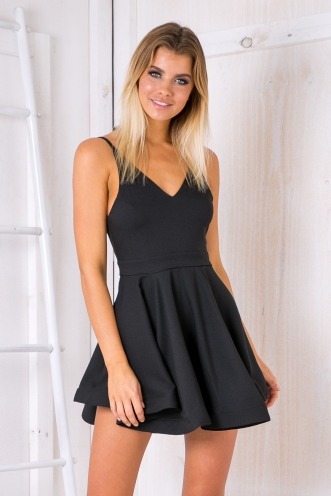 Taylor flared party dress -Black