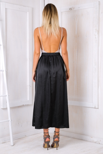 Sal satin maxi skirt - Black