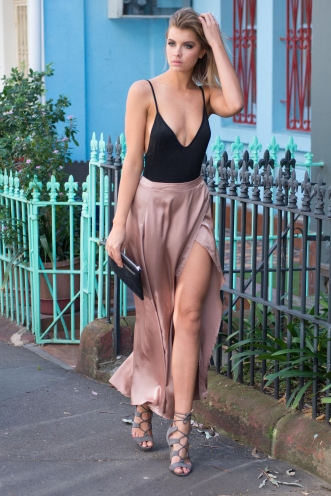 Bailey satin maxi skirt - Beige