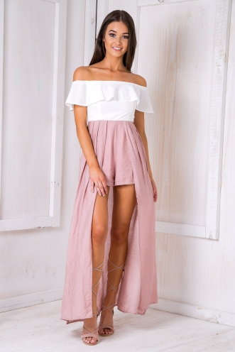 Tully maxi playsuit - White/Pink