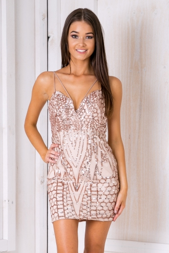 When in rome dress - Rose gold sequin