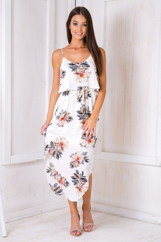 What I want relaxed maxi dress - White Floral