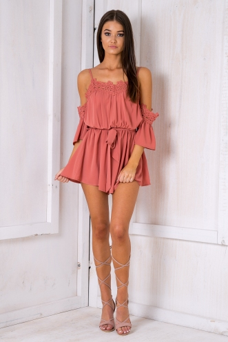 Dahlia playsuit- Dusty pink