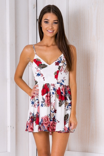 Garden fairy playsuit - Red/Pink print