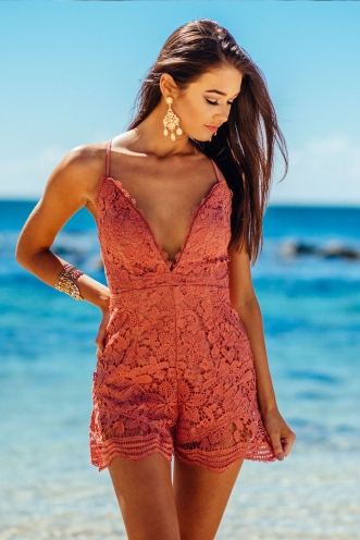 Hibiscus lace playsuit - Dusty Pink