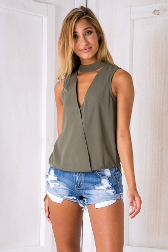 Olive collar blouse - Khaki