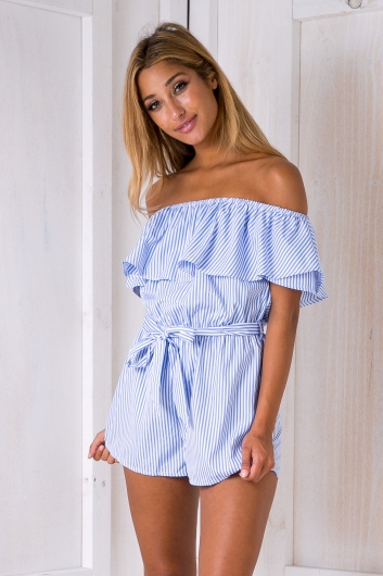 Clara stripe playsuit - Blue/White