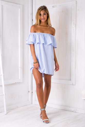 Clara stripe dress - Blue/White