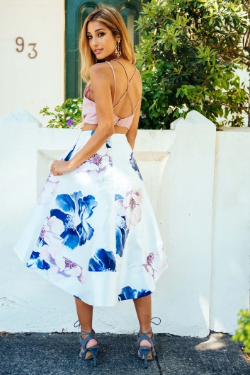 Arabella race day skirt - White floral