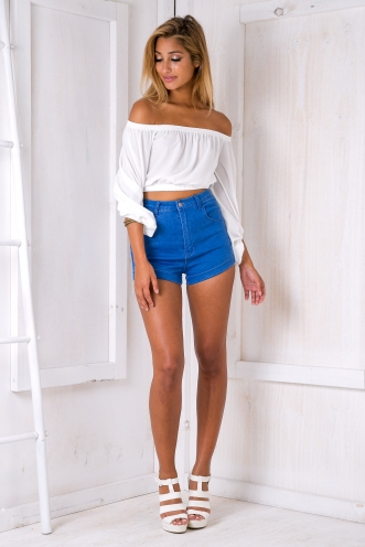 Ibiza high waisted shorts - Blue denim