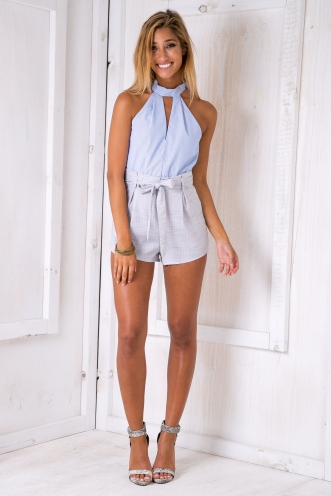 Two sides playsuit- Blue stripe/Grey