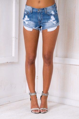 Croatia sailing denim short - Mid blue