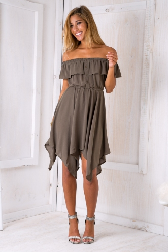 Mel strapless dress - Khaki SALE