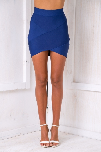 Faye Cross Over Bandage Skirt - Blue