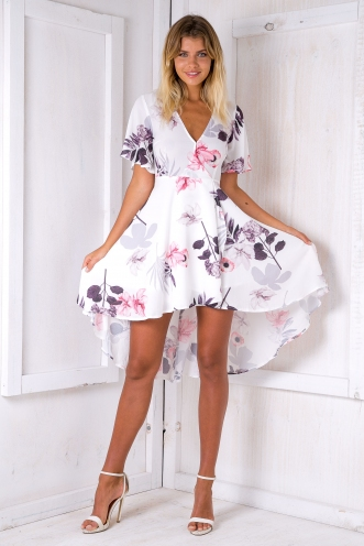 Daylight dress - White/Purple-SALE