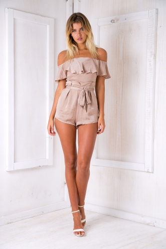 Katie satin playsuit -Mocha Beige