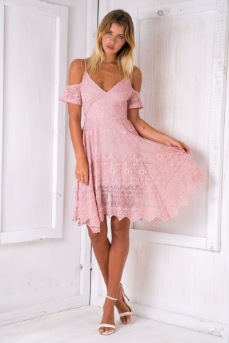 Riley lace dress - Pink-SALE
