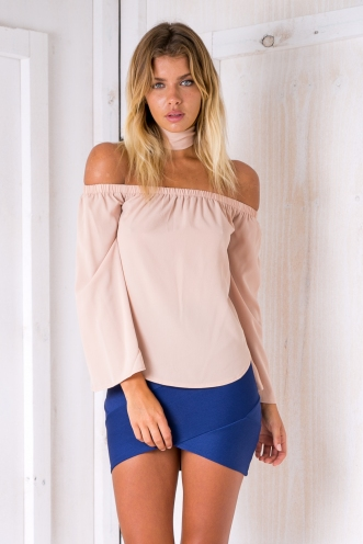 Nova off the shoulder top -Beige