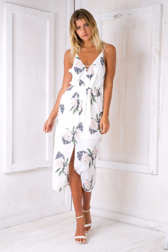 Shannon maxi dress - Green/Pink floral