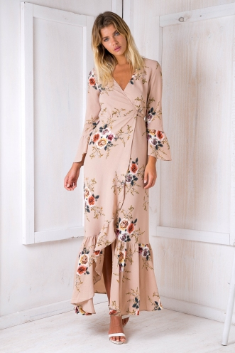 Avery Maxi Dress - Beige Floral