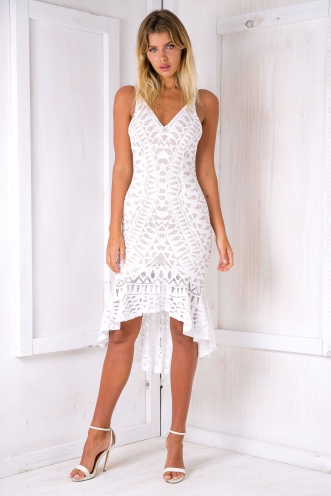 Crystal lace evening dress - White