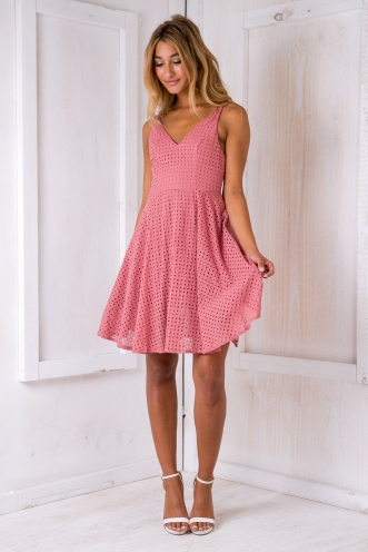 Faye brocade dress - Dusty pink