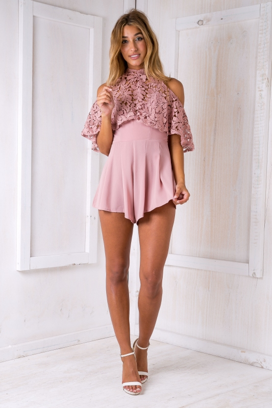 a9e104a219 Tasha lace playsuit - Dusty pink-SALE - Stelly
