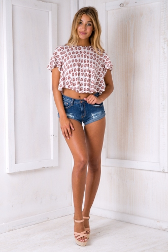 Becky crop top - Red/White