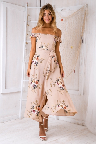 Turkey travels maxi dress - Tan print