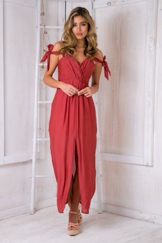 Zambia maxi dress-Burnt Red