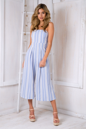 Lotus jumpsuit -Light blue stripe