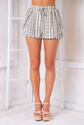 Belle shorts- Beige/Charcoal-SALE