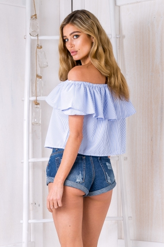 Kyle crop top - Blue stripe
