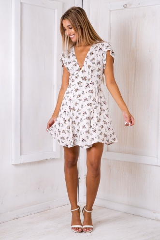 Milly wrap dress - Cream floral