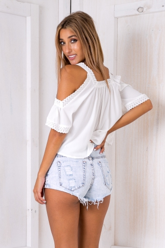 Leah lace trim top- White