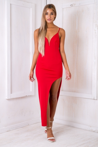 Turning Heads Bodycon Maxi Dress -Red
