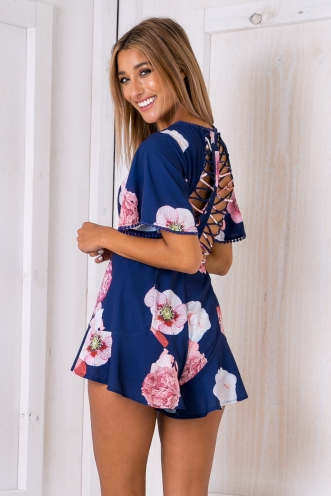 Edith cutout playsuit - Navy floral-SALE