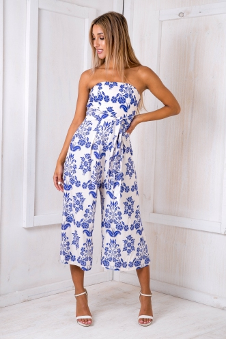 Bahamas jumpsuit - Cream/Blue