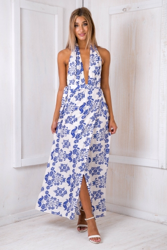 Sephia maxi dress - Cream/Blue
