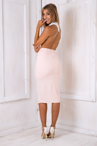 Kate moss evening dress - White/Baby pink