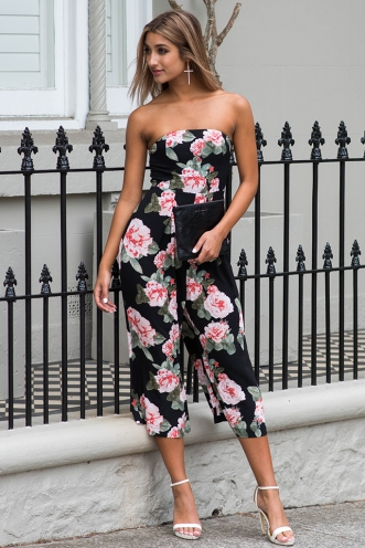 Lotus jumpsuit - Black floral-SALE