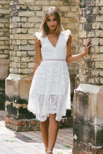 Cherrie lace dress - White