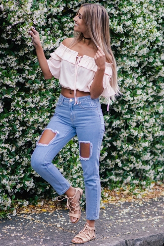 Arabella crop top- Apricot pink