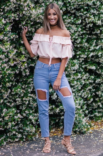 Oasis ripped jeans- Light blue wash