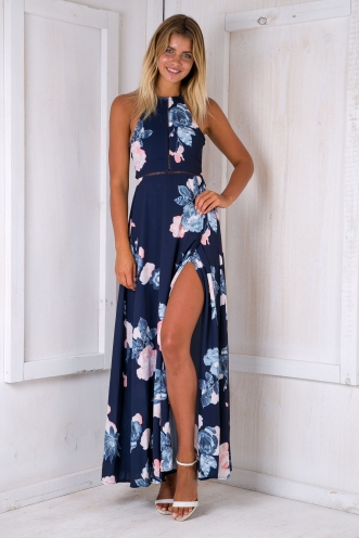 Rosie floral maxi dress -Navy/Pink