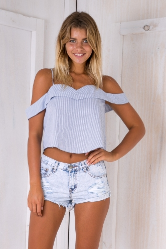 Angel crop top - Blue/White-SALE