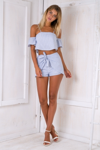Arianna crop top - Light blue stripe