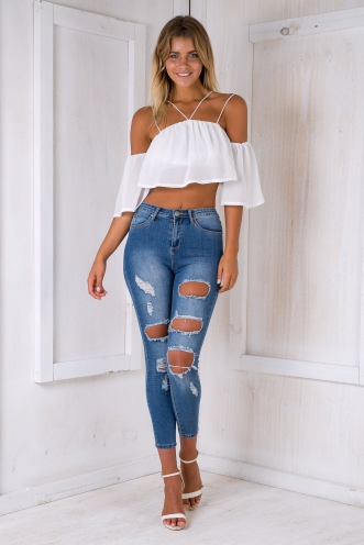 Elly crop top - White