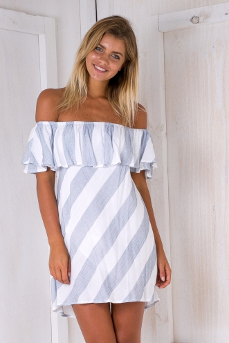 Clara stripe dress - White/Blue-grey-SALE